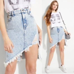 Guess Evelyn Acid Washed Asymmetrical Denim Skirt